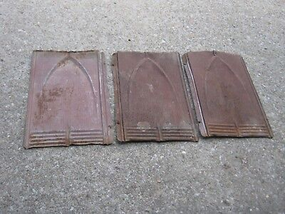 "3 pcs  VINTAGE ANTIQUE ROOFING TIN SHINGLE LOT SHIELD EMBOSSED 13 3/4"" X 9"""