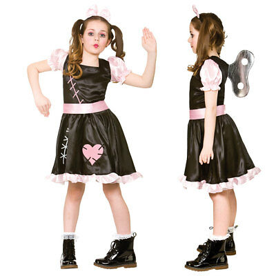 Childrens Girls Halloween Wind Up Doll Costume For Trick Or Treat