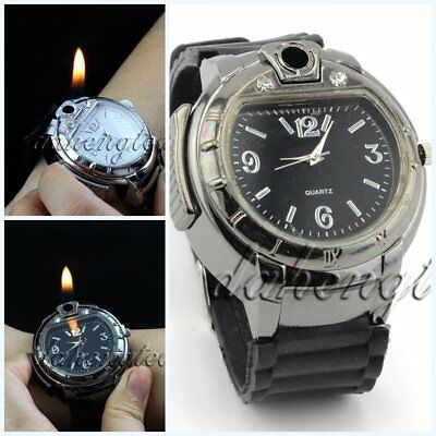 Novelty Bulk Cool Men's Butane Gas Cigarette/Cigar Lighter Refillable WristWatch