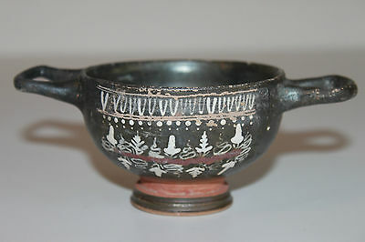 ANCIENT GREEK POTTERY GNATHIAN KYLIX 4th BC WINE CUP