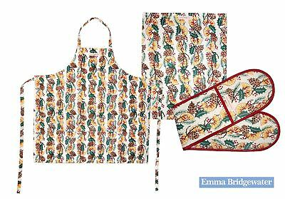 Emma Bridgewater Christmas Apron, Tea Towels or Double Oven Glove Holly Wreath