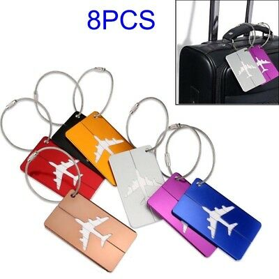 8pcs Travel Aluminium Plane Luggage Tags Suitcase Label Name Address ID Baggage