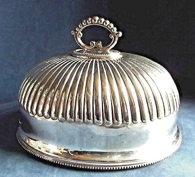 "GOOD 12"" ~ SILVER Plated ~ FLUTED Food COVER Dome ~ c1900 by William Hutton"