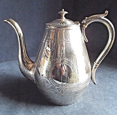 GOOD Large VICTORIAN ~ SILVER Plated ~ Engraved TEAPOT ~ c1890 by Thomas Land