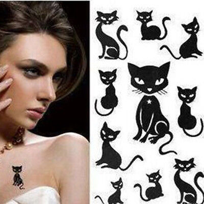 10Pcs piccolo gatto nero impermeabile tatuaggi temporanei Body Arts Flash Tatt