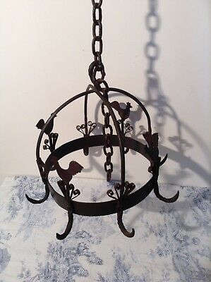 Vintage French Hanging Pan Rack Wrought Iron Country Kitchen Farmhouse (3191)