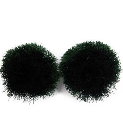 Girls kids children pom pom fluffy Silky pair of Pom Poms, Craft Jade Green  P2