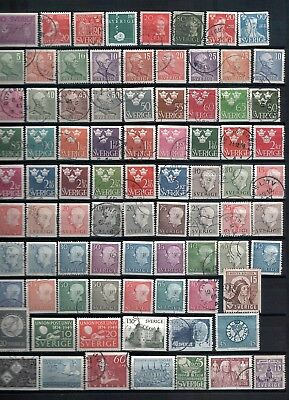 SWEDEN - Mixed lot of 83 Stamps, most Good-Fine Used, LH