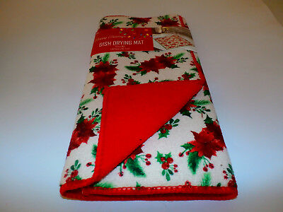 CHRISTMAS ~ Poinsettia Dish Drying Mat Kitchen Counter Holiday Party Decoration