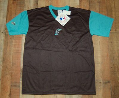 4b290589e NWT VINTAGE Majestic Florida Miami Marlins V-Neck Jersey Men s Large-Black  Green