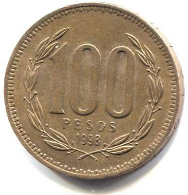 1998 Chile 100 Pesos Coin - Republica De Chile