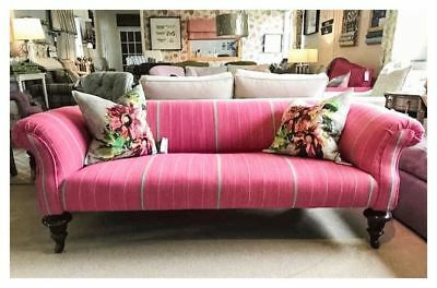 Large Antique Victorian Refurbished Hot Pink Striped Chesterfield Sofa c1800s