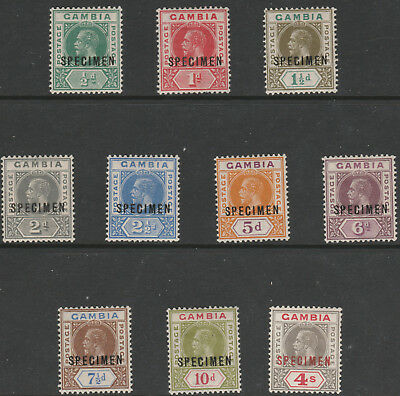 Gambia 172 - 1922 KGV SCRIPT CA set opt'd SPECIMEN only about 400 produced