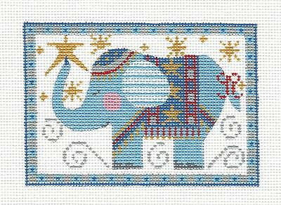 *NEW* Elephant Rectangle in Blue HP Needlepoint Canvas CH Designs from Danji