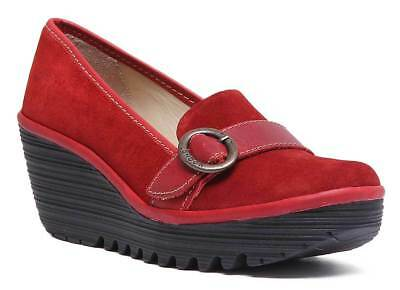 4266eb138826 FLY LONDON YOGO Red Womens Leather Cross Bar Wedge Shoes -  97.85 ...
