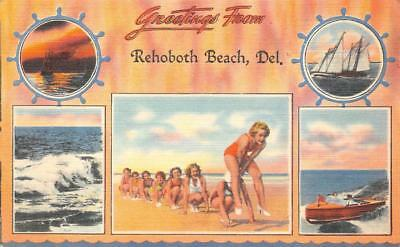 GREETINGS FROM REHOBOTH BEACH DEAWARE MULTI-VIEW POSTCARD (c. 1940s)