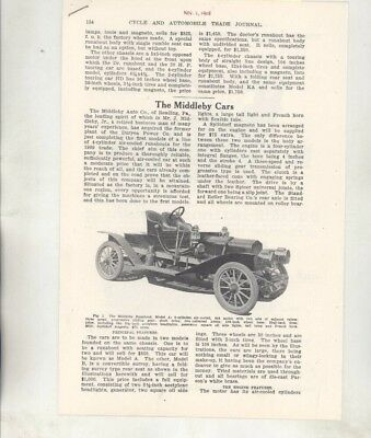 1908 Middleby Air Cooled Automobile Magazine Article Reading PA wz7035