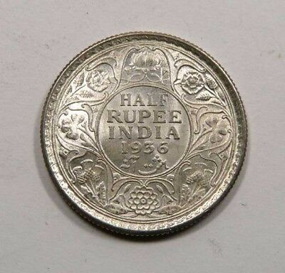 British India King George V Silver ½ Rupee 1936 Mint State Full Mint Luster WOW
