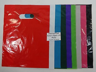 """9"""" x 12"""" Low Density Glossy Merchandise Retail Bags Variety of Colors & Qty."""