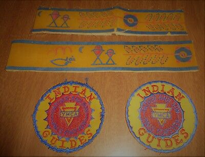 Vintage Sewing Patches - 2 YMCA Indian Guides Father & Son + Bands
