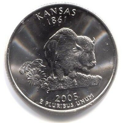 U.S. Kansas Buffalo Sunflower State Quarter 2005 D Coin Denver Mint