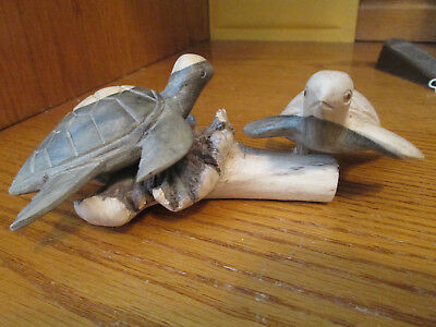"Hand Carved Wooden Pair Of Turtles That Swivel  Figurine  7"" by 3"""