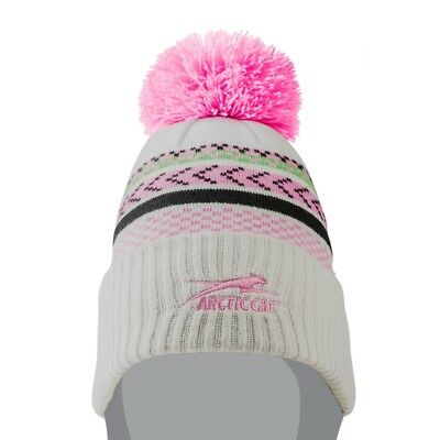 Arctic Cat Aircat Gray Beanie with Pink Pom 100% Acrylic Knit - 5273-092