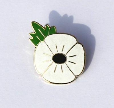 Lest We Forget. White Poppy pin badge Peace