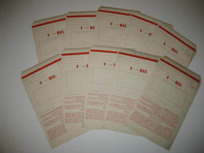Vintage WWII V-Mail Envelopes Unused.....Lot of 10