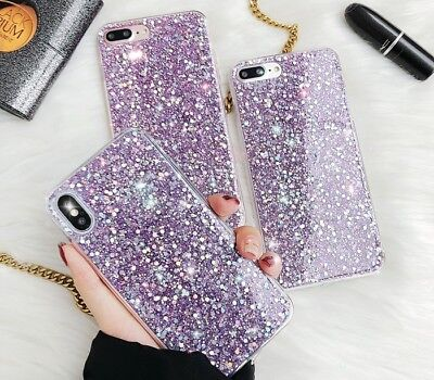 Full Body Bling Purple Glitter Cute Girly Protective Case Phone Cover For iPhone