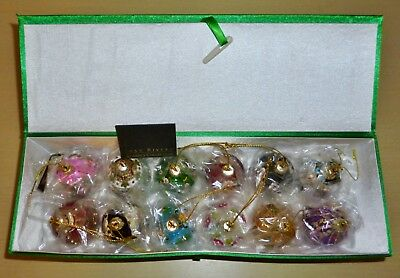 12 Stunning JOAN RIVERS Faberge Inspired EGG CHRISTMAS ORNAMENTS w/Padded BOX