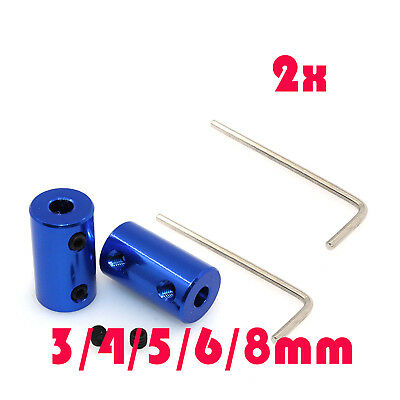 2x Blue Rigid shaft coupling joint ~ Stepper Motor Coupler Connector 3mm to 8mm