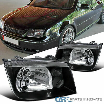Fit VW 99-05 Jetta Bora Mk4 MkIV Black Headlights+Built In Fog Lamps Left+Right