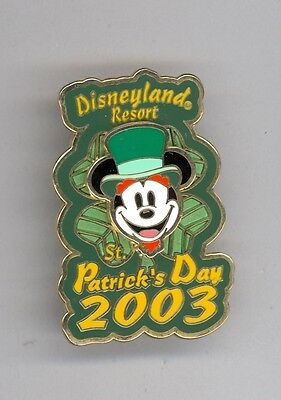 Disney Disneyland St. Patrick's Day Vintage Classic Mickey Mouse Face LE Pin