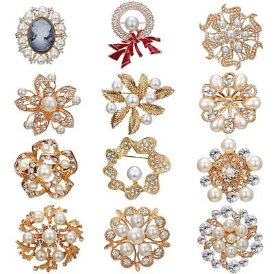 Wedding Bridal Elegant Crystal Pearl Brooch Pin Flower Breastpin Women Jewelry
