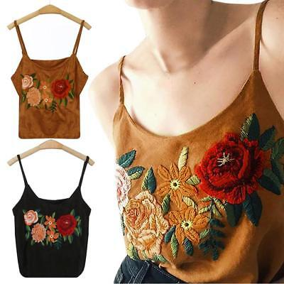 Mode Frauen Sommer Tank Tops Stickerei Floral Weste Bluse Casual Crop