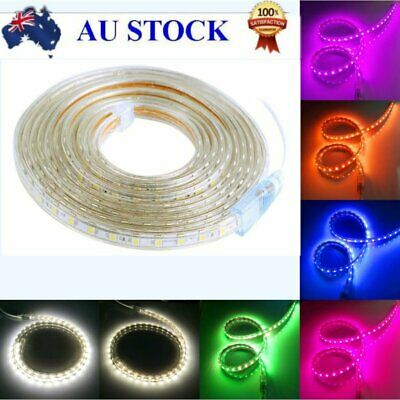 1M-20M Waterproof SMD 5050 LED Strip 220-240V Flexible tape rope Light RGB White
