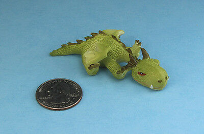 CUTE! FAIRY GARDEN MINIATURE Sleepy Mini Green Dragon Figurine NEW #TLT4350