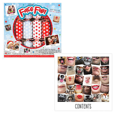 6 Pack Novelty Game Christmas Crackers - Festive Face Fun