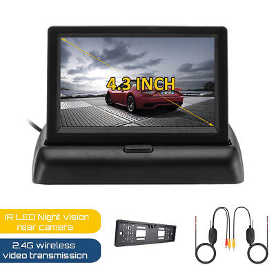 4.3'' LCD Rear View Monitor +Car License Plate Frame IR Cam +2.4GHz Wireless Kit