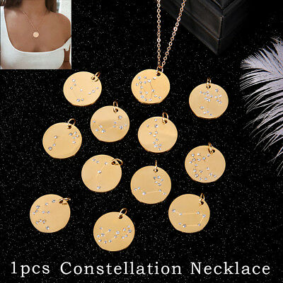 Zodiac Pendant Gold Chain Constellation Zirconia Necklace Stainless Steel
