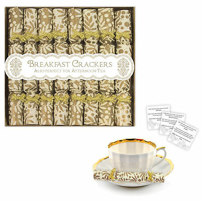 8 Pack Luxury Miniature Crackers- Breakfast, Afternoon Tea, Saucer Cracker- Gold