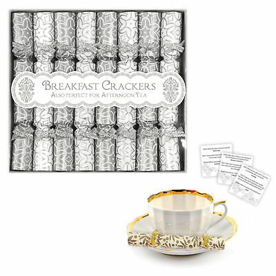 8 Pack Luxury Mini Crackers - Breakfast, Afternoon Tea, Saucer Cracker - Silver