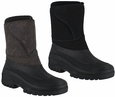 Mens Nubuck Style Easy Strap Winter Stable Yard Lined Snow Boots Sizes 7 to 11
