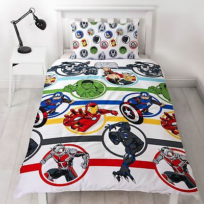 Marvel Avengers Strong Single Duvet Cover Set Childrens Bedroom - 2 In 1 Design
