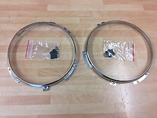 "Land Rover Defender Stainless Steel 7"" Headlight Securing Rings STC3018SS PAIR"