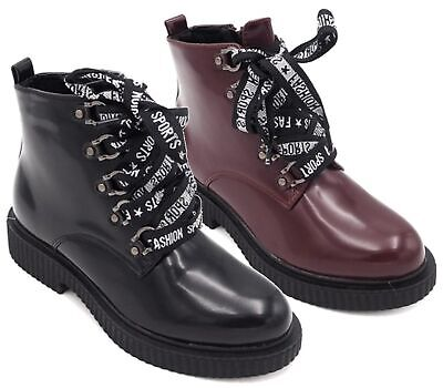 New Vintage Womens Creeper Platform Lace Up Ankle Boots Knight Punk Ankle  Boots d8098be72bdd