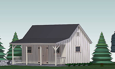 SHED PLANS BLUEPRINTS  12 ft x 24 ft  WITH PORCH