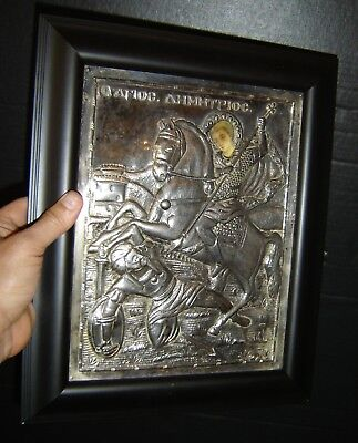Antique Greek Orthodox 800 Silver Icon St. Demetrius On Horse Slaying a Turk.