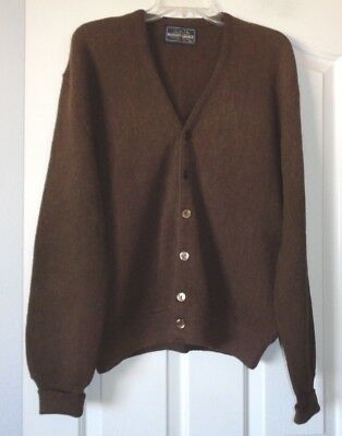 Robert Bruce Arnold Palmer VTG USA Brown Alpaca/Wool Cardigan Sweater XL